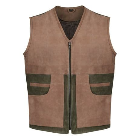 Leather Shooting Gilet Waistcoat Traditional Quality Olive Tan Rear Pocket New